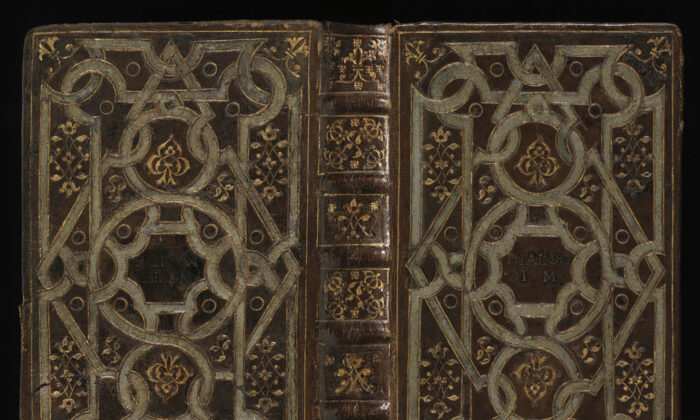 "The spine, front and  back cover of ""Dialogues"" by Sperone Speroni, 1546. (The Barbier-Mueller Foundation, University of Geneva)"