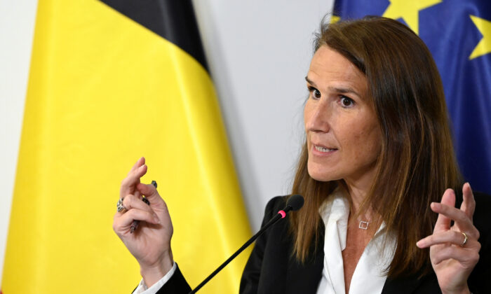 Belgium's Prime Minister Sophie Wilmes holds a news conference after a meeting of the National Security Council amid the coronavirus disease (COVID-19) outbreak in Brussels, Belgium, on July 23, 2020. (Dirk Waem/Pool via Reuters)