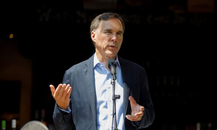 Canada's Minister of Finance Bill Morneau speaks to media during a press conference in Toronto, on July 17, 2020. (The Canadian Press/Cole Burston)