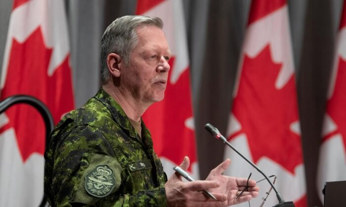 Chief of Defence Staff Jonathan Vance responds to a question during a news conference, on  May 7, 2020 in Ottawa. (The Canadian Press/Adrian Wyld)