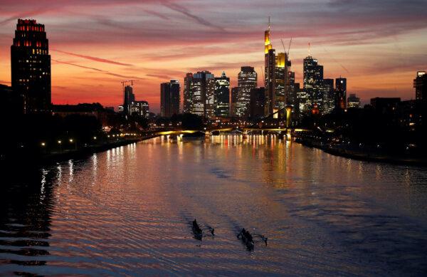 Financial district in Frankfurt Germany