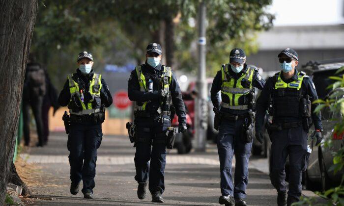 Police patrol Melbourne, Australia on July 10, 2020. (William West/AFP via Getty Images)