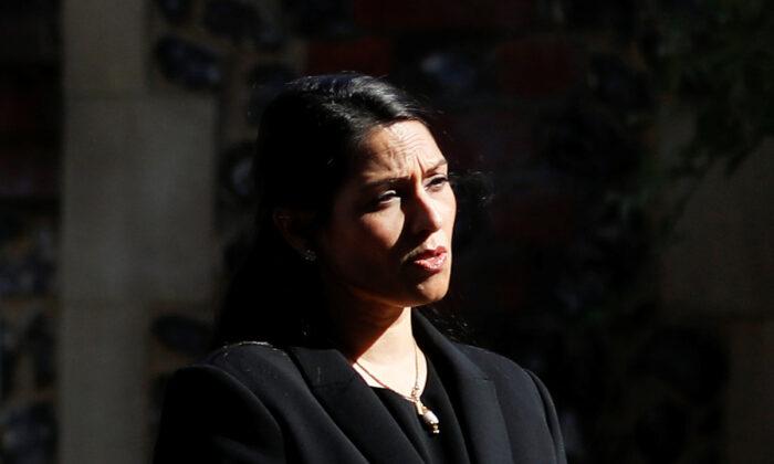Britain's Home Secretary, Priti Patel, speaks to the media in Reading, Britain on June 22, 2020. (Peter Nicholls/Reuters)