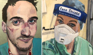 Man Paints Portraits of Front line Medics, Capturing Their Exhaustion Treating COVID-19 Patients