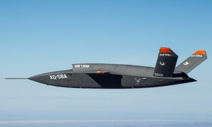 The Kratos XQ-58 Valkyrie during a test flight in this March 28, 2020 dated handout photograph from the Air Force. (U.S. Department of Defense)