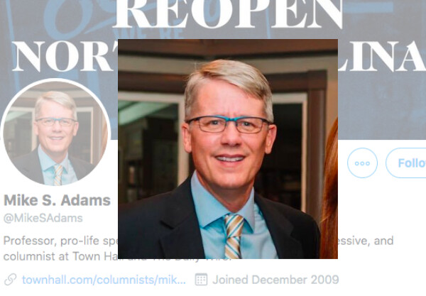 Conservative professor Mike Adams was found dead in his North Carolina home on July 23, 2020. (Screenshot via Twitter)