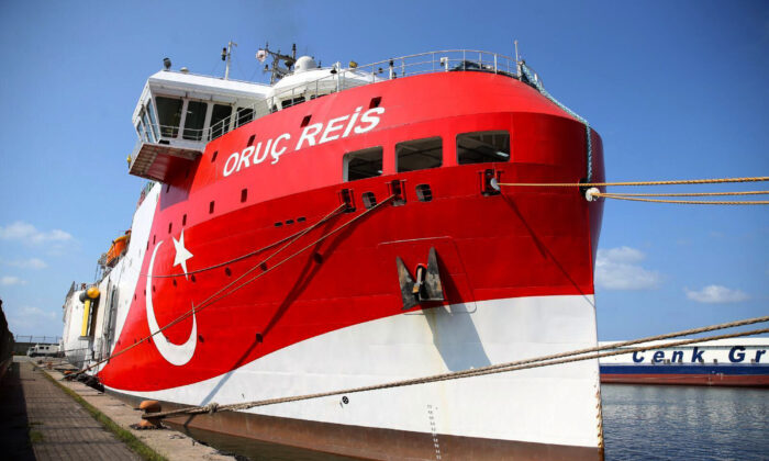 The research vessel Oruc Reis in Antalya, Turkey.   (Turkey's Ministry of Energy and Natural Resources via AP)