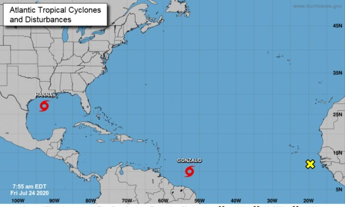 Tropical Storm Hanna was expected to strengthen on July 24 as it moves toward the Texas coastline, while another tropical storm  Gonzalo continued to approach the Caribbean, on July 24, 2020. (Courtesy of National Hurricane Center)