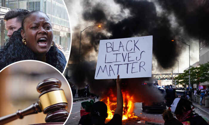 (Top L) Bevelyn Beatty from Atwell Ministries was arrested for criminal mischief on July 18, 2020 (Yuki Iwamura/AP Photo); (Bottom L) Illustration (Shutterstock); (R) A man holds a Black Lives Matter sign as a police car burns during a protest on May 29, 2020 in Atlanta, Georgia. (Elijah Nouvelage/Getty Images)