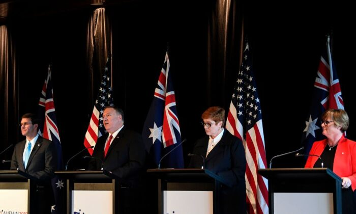 US Secretary of Defence Mark Esper (L) and US Secretary of State Mike Pompeo (2nd L) attend a joint news conference with Australia's Foreign Minister Marise Payne (2nd R)and Australia's Defence Minister Linda Reynolds in Sydney on August 4, 2019. (SAEED KHAN/Getty Images)