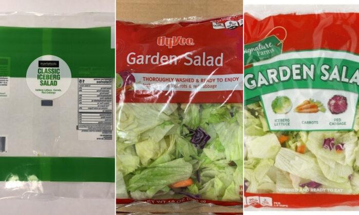 (L-R) Marketside brand Classic Iceberg Salad, Hy-Vee brand 12-ounce bagged Garden Salad, and Jewel-Osco Signature Farms brand 12-ounce bagged Garden Salad. (FDA)