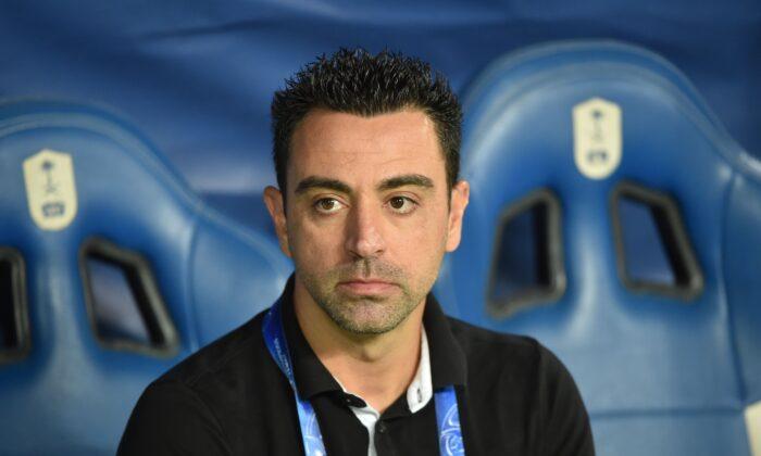 Al Sadd's Spanish coach Xavi Hernandez watches the second leg of the AFC Champions League semi-finals football match between Qatar's Al Sadd and Saudi' Al Hilal in Riyadh on Oct. 22, 2019. (Fayez Nureldine/AFP via Getty Images)