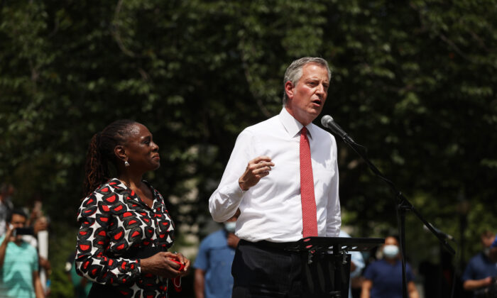 New York Mayor Bill de Blasio speaks to an estimated 10,000 people as they gather in Brooklyn's Cadman Plaza Park for a memorial service for George Floyd, in New York City on June 4. (Spencer Platt/Getty Images)