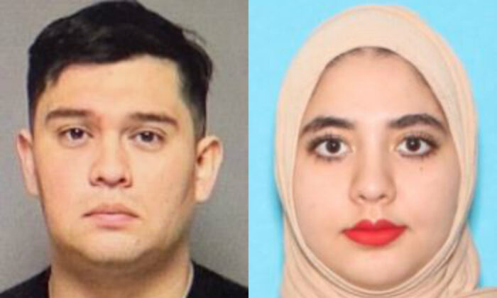 Jose Felan Jr., left, and his wife Mena Dyaha Yousif, in file photographs. The couple is accused of setting fires in St. Paul, Minn., during riots in the wake of George Floyd's death before going on the lam. (U.S. Marshals Service)