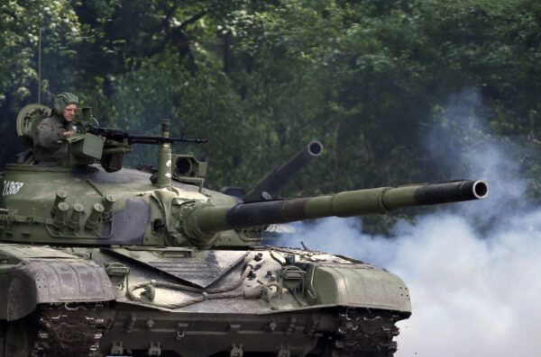 A Serbian army tank performs -1