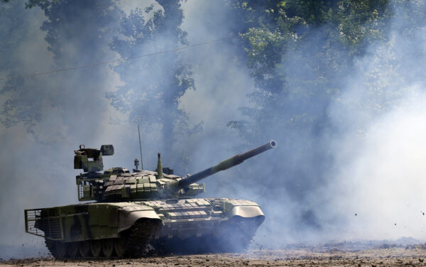 A Serbian army tank performs -2