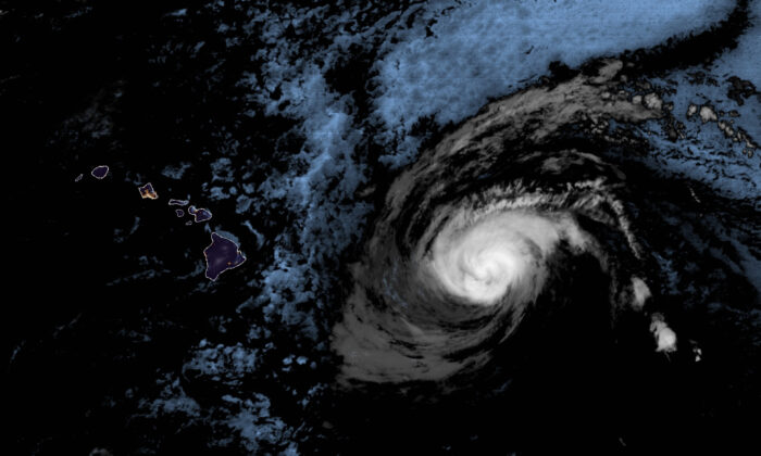 Hurricane Douglas approximately 500 miles east of Hawaii at 4:10 a.m. HST on July 25, 2020. (NOAA via AP)