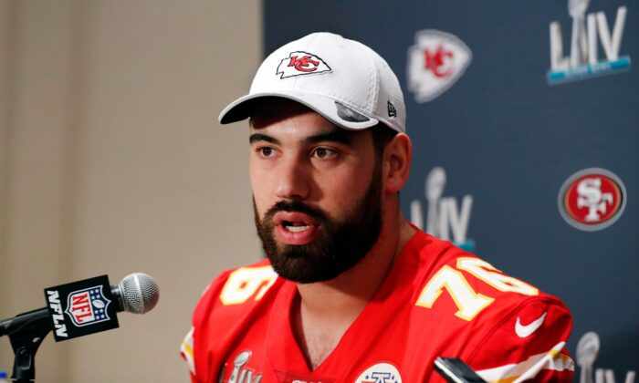 Kansas City Chiefs offensive guard Laurent Duvernay-Tardif (76) speaks during a news conference in Aventura, Fla., on Jan. 29, 2020 for the NFL Super Bowl 54 football game. (Brynn Anderson/AP Photo, File)