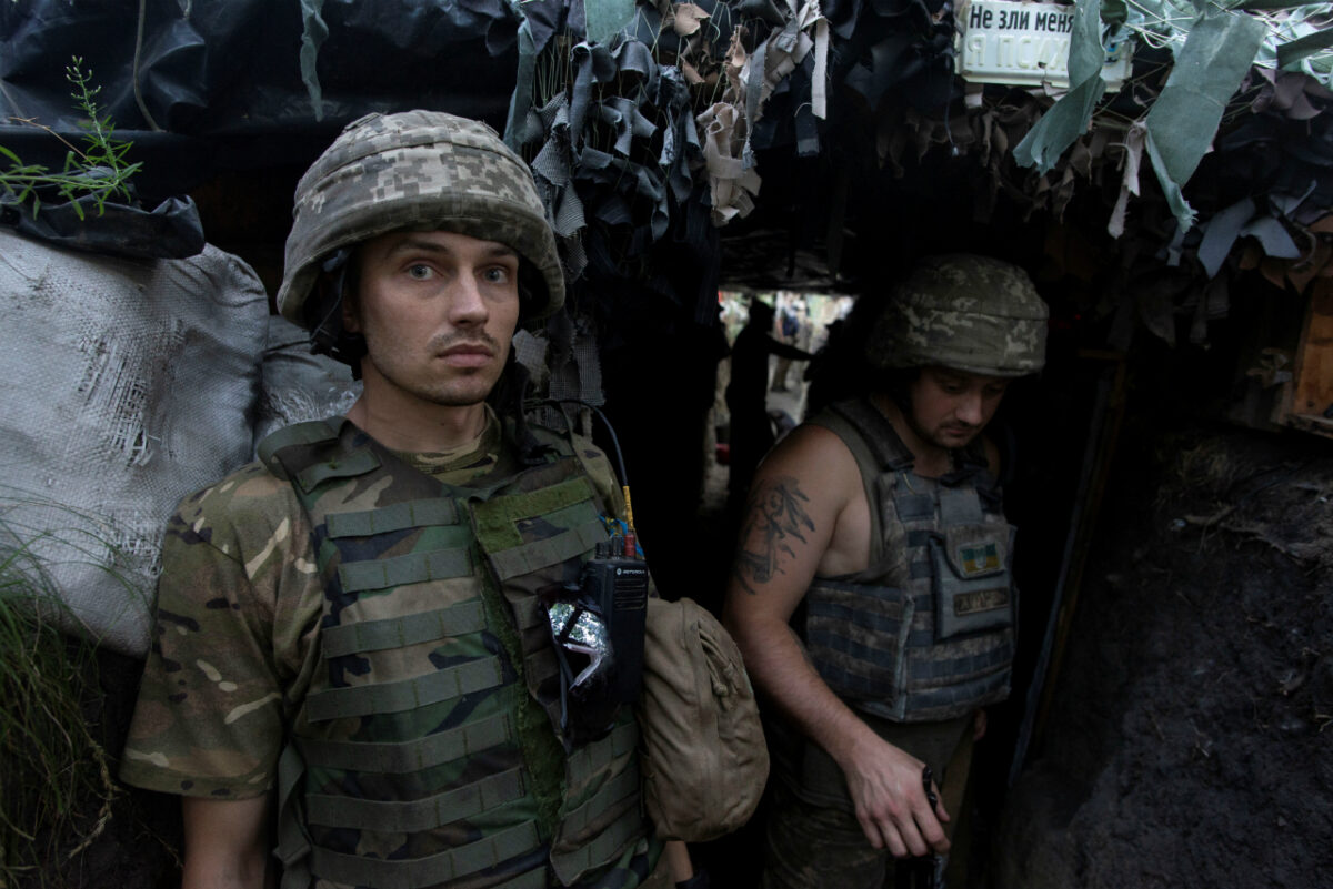 Ukrainian servicemen are seen at a position on the front line near the town of Novotoshkivske in Luhansk region, Ukraine July 26, 2020. (Iryna Rybakova/Press Service of Ukrainian Defense Ministry/Handout via Reuters)