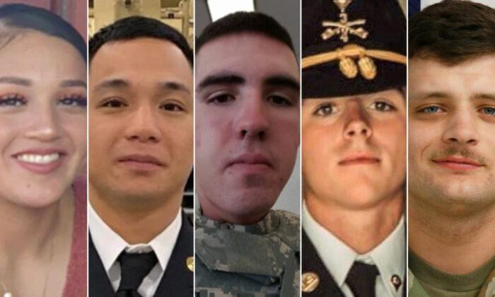 Fort Hood Service Members: Vanessa Guillen, Mehjor Morta, Gregory Morales, Shelby Tyler Jones, Brandon Scott Rosencrans. (Courtesy of Fort Hood Press Center)
