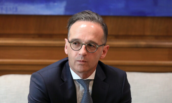 German Foreign Minister Heiko Maas pauses as he meets with Greek Prime Minister Kyriakos Mitsotakis at the Maximos Mansion in Athens, Greece, on July 21, 2020. (Costas Baltas/Reuters)