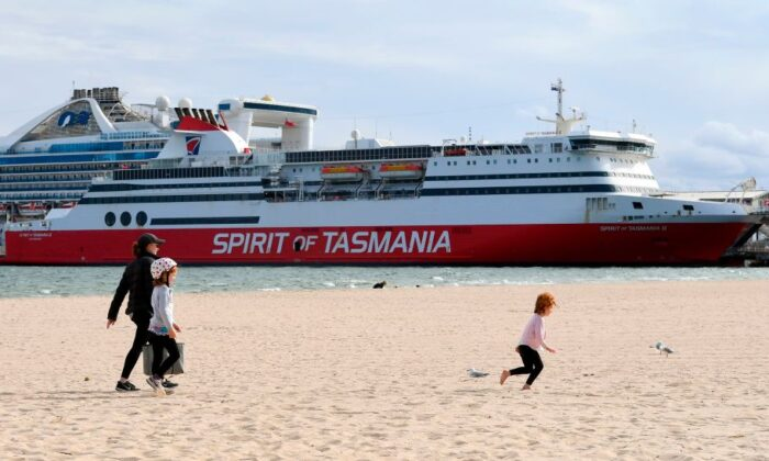 The Spirit of Tasmania ferry which carries passengers between Melbourne and Devonport in Tasmania, is moored at Station Pier in Melbourne on March 24, 2020. (William West/Getty Images)