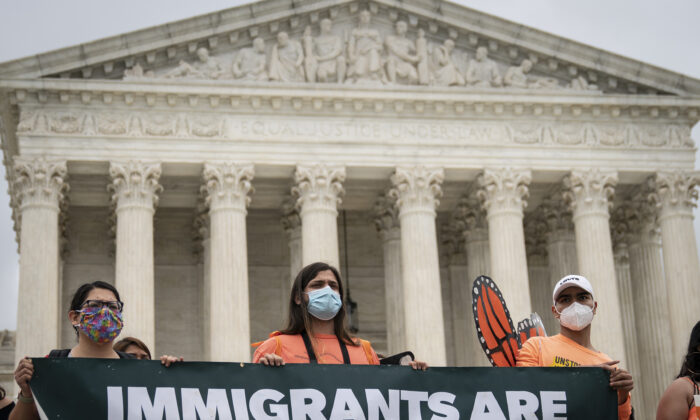 DACA recipients and their supporters rally outside the Supreme Court in Washington on June 18, 2020. (Drew Angerer/Getty Images)