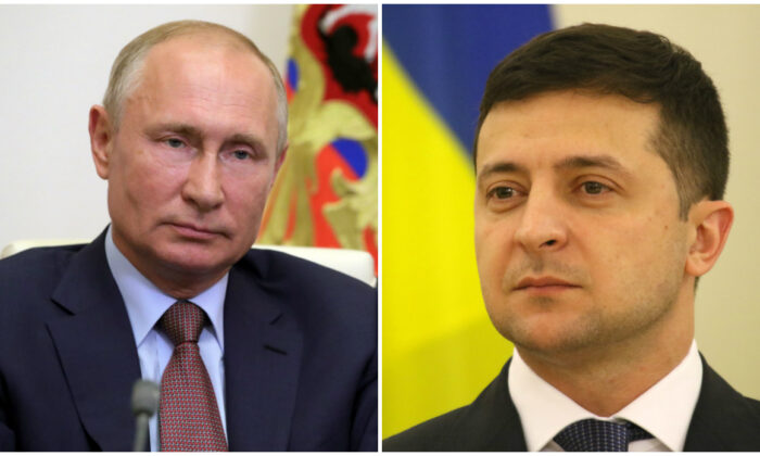 (L) Russia's President Vladimir Putin takes part in a video conference call outside Moscow, Russia on June 11, 2020. (Sputnik/Alexei Nikolsky/Kremlin via Reuters), (R) Ukraine President Volodymyr Zelensky at the presidential palace in Vilnius, Lithuania, on Nov. 27, 2019. (Petras Malukas/AFP via Getty Images