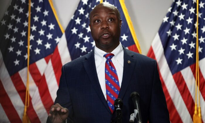 Sen. Tim Scott (R-S.C.) speaks to members of the media at Hart Senate Office Building on Capitol Hill in Washington on June 23, 2020.  (Alex Wong/Getty Images)