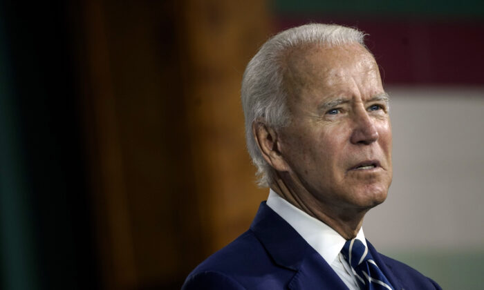 Democratic presidential candidate former Vice President Joe Biden speaks at an event at the Colwyck Center in New Castle, Del., on July 21, 2020. (Drew Angerer/Getty Images)