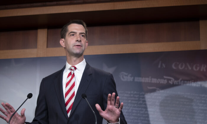 Sen. Tom Cotton (R-Ark.) attends a press conference in Washington on July 1, 2020. (Tasos Katopodis/Getty Images)
