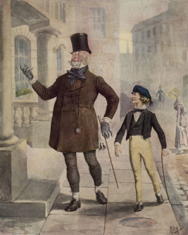 An illustration of the characters Mr. Micawber and David Copperfield