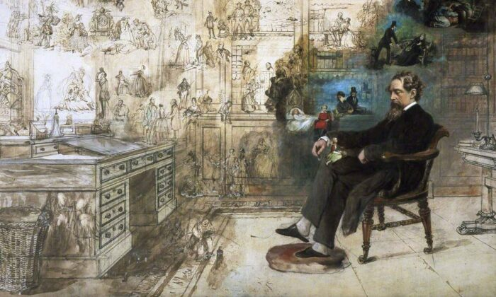 "Charles Dickens seems to have become as much a literary character as those he created. Detail of ""Dickens's Dream"" by Robert William Buss.(Public Domain)"