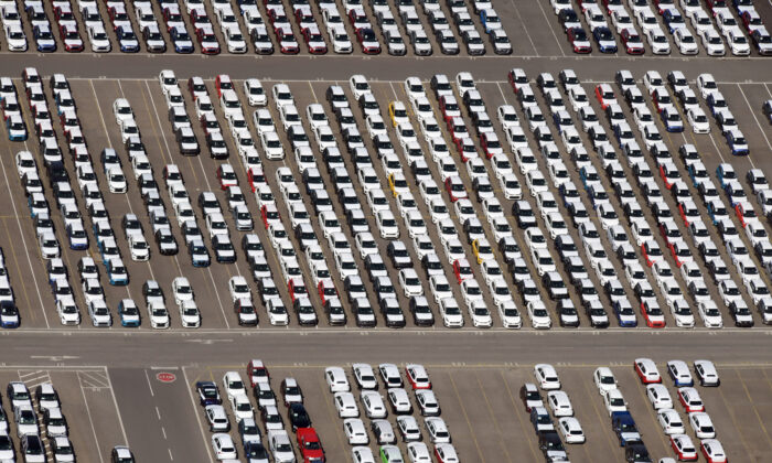 Cars intended for export wait at the port for loading, as the spread of the coronavirus disease (COVID-19) continues in Bremerhaven, Germany, April 24, 2020. (Fabian Bimmer/Reuters)