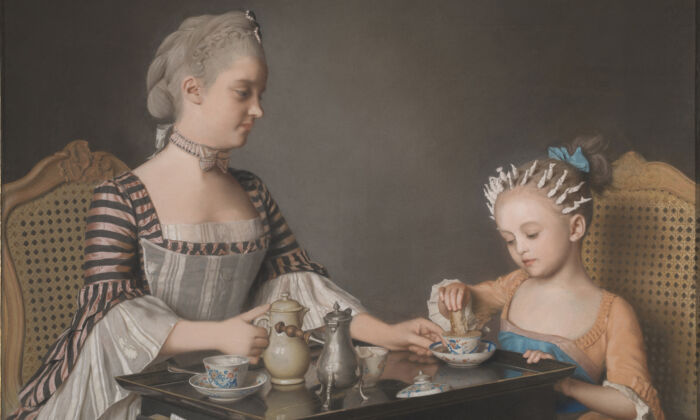 """""""The Lavergne Family Breakfast,"""" 1754, byJean-Étienne Liotard.Pastel on paper stuck down on canvas; 31 1/2 inches by 41 3/4 inches. From the estate of George Pinto under the acceptance in Lieu scheme. (The National Gallery, London)"""