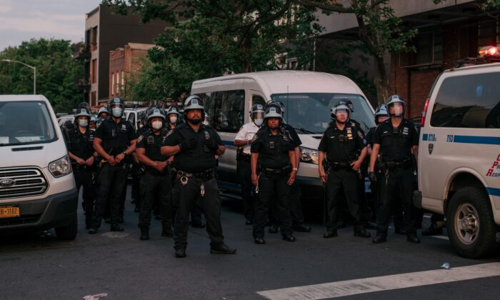 NYPD officers in New York City on June 11, 2020. (Scott Heins/Getty Images)