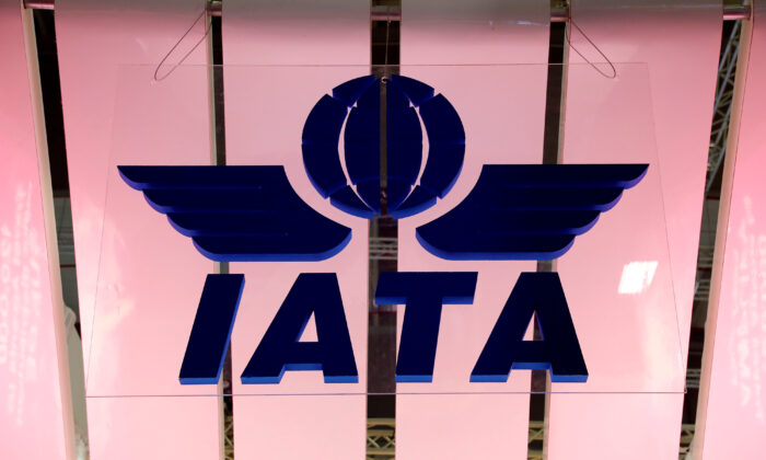The International Air Transport Association (IATA) logo is seen at the International Tourism Trade Fair ITB in Berlin, Germany, on March 7, 2018. (Fabrizio Bensch/Reuters)
