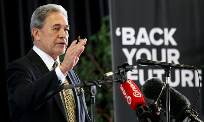 """New Zealand Foreign Minister Winston Peters speaks at the """"Save Tiwai"""" public meeting held at the Invercargill Workingmen's Club in Invercargill, New Zealand, on July 24, 2020. (Dianne Manson/Getty Images)"""