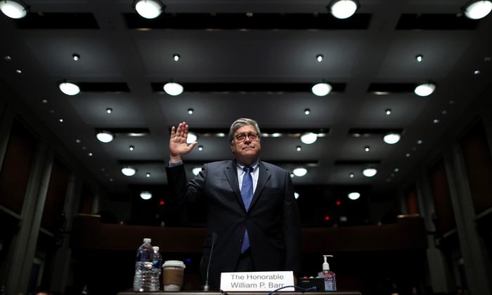 Attorney General William Barr takes the oath before he testifies before the House Judiciary Committee hearing in the Congressional Auditorium at the US Capitol Visitors Center July 28, 2020, in Washington. (Chip Somodevilla/AFP via Getty Images)