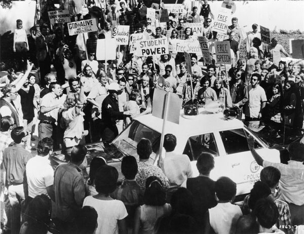 Protestors Surround Police Car Outside 1968 Democratic National Convention