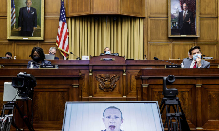Facebook CEO Mark Zuckerberg speaks via video conference during a House subcommittee hearing on antitrust on Capitol Hill in Washington on Wednesday, on July 29, 2020. (Graeme Jennings/Pool via AP)