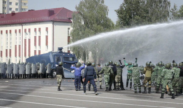 Belarusian Interior Ministry special forces take part in crowd dispersing training session