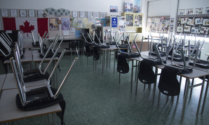 A empty classroom is pictured at Eric Hamber Secondary school in Vancouver, B.C. on March 23, 2020. The British Columbia government has announced its updated plan for a safe return for public schools during the COVID-19 pandemic. (Jonathan Hayward/The Canadian Press)
