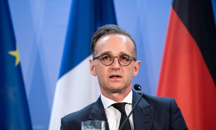German Foreign Minister Heiko Maas speaks to the media with French Foreign Minister Jean-Yves Le Drian (not in picture) in Berlin on June 19, 2020. (Bernd von Jutrczenka/Pool/Getty Images)
