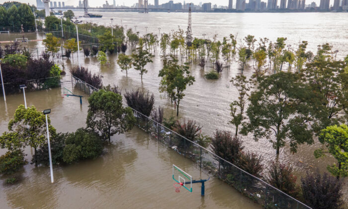A sports ground along the Yangtze River was inundated in Wuhan in China's central Hubei Province on July 28, 2020. (STR/AFP via Getty Images)