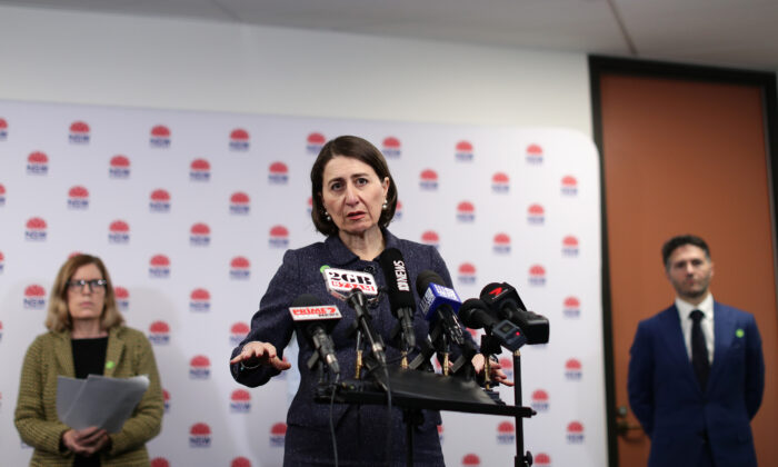 NSW Premier Gladys Berejiklian speaks to the media at a press conference at Sydney Olympic Park, Sydney, Australia on July 8, 2020. (Mark Metcalfe/Getty Images)