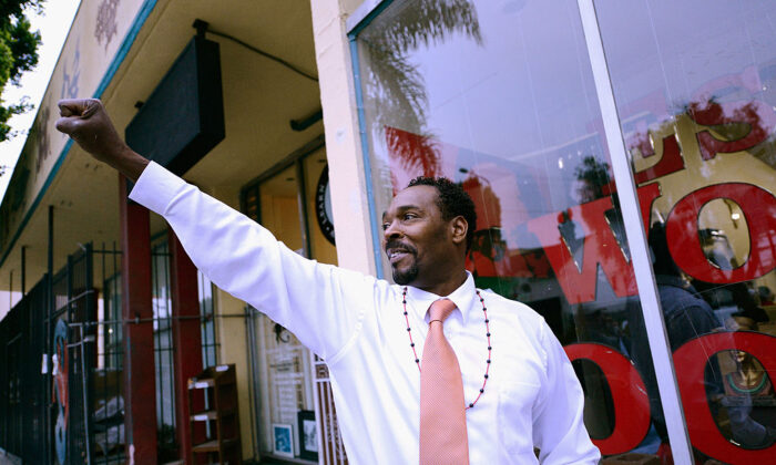 "Rodney King arrives at the EsoWon bookstore to sign copies of his new book, ""The Riot Within: My Journey From Rebellion to Redemption,"" 20 years after the verdict due to his beating led to infamous riots, in Los Angeles, Calif., on April 30, 2012. (Kevork Djansezian/Getty Images)"
