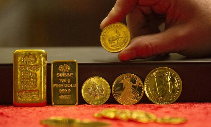 A variety of gold bullion on display at Merrion vaults in Dublin, Ireland, on Jan. 7, 2019. (Paul Faith/AFP via Getty Images)