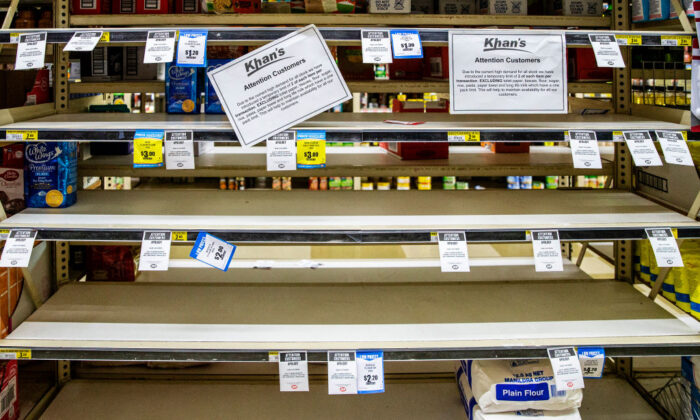 Empty shelves are seen at Khan's SUPA IGA on April 18, 2020 in Cobar, Australia. (Jenny Evans/Getty Images)