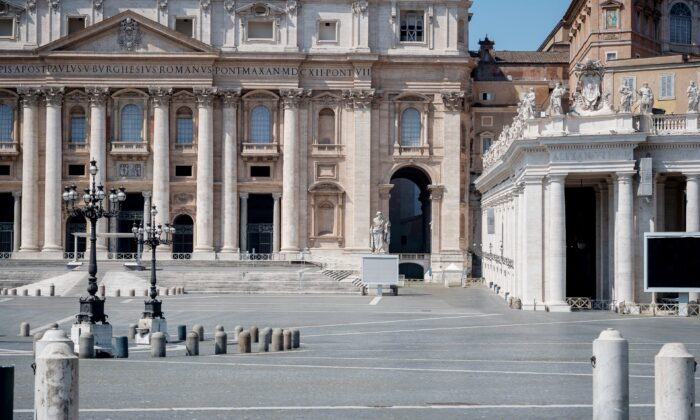 A general view of St. Peter's Square, in Vatican City, Vatican, on April 12, 2020. (Antonio Masiello/Getty Images)